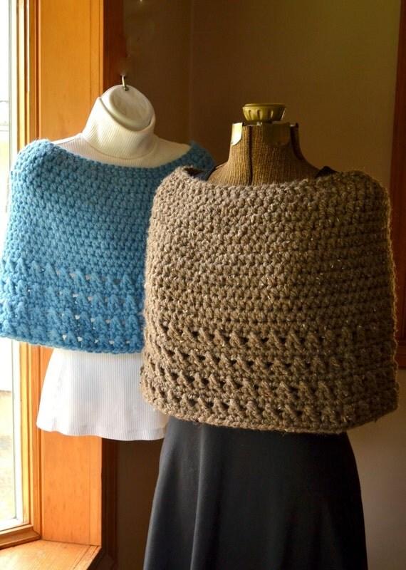 Light Blue Cape Crochet Capelet or Poncho Sky Blue