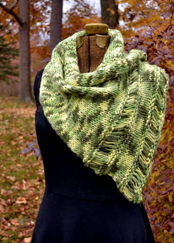 Hand Knit Green Scarf or Shawl Wide Scarf  Olive Green Winter Accessories