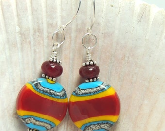 HOT STUFF Handmade Lampwork Bead Dangle Earrings