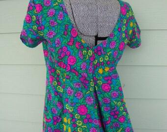 Vintage 1960s Ludi's Waikiki Maxi Dress Psychedelic Hawaiian Dress