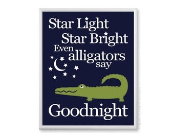 Alligator Nursery Boys Wall Art, Moon and Stars Nursery Rhyme, Navy and Green, Boys Room Decor, Baby Nursery Decor, 8x10 or 11x14 Print