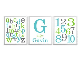 Personalized Boys Nursery Art, ABC Wall Art, Numbers Wall Art, Alphabet Art Prints, Nursery Alphabet Posters Teal Aqua Lime Green Grey