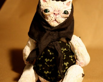 White Persian kitty cat doll paperclay movable OOAK