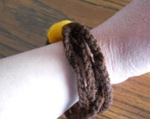 Brown and Gold School Spirit Fargo South Crochet Bracelet - Great for Sports Events - Makes a Great gift for Teenagers