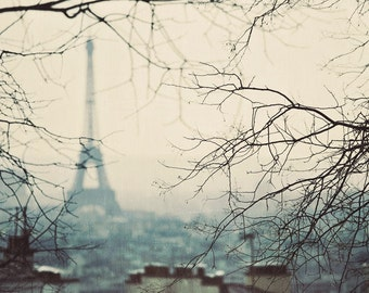 """Paris Photography, Eiffel Tower Print, Teal Paris Decor, French Wall Decor, Fine Art Photography, Eiffel Tower Decor, """"Entre Nous"""""""