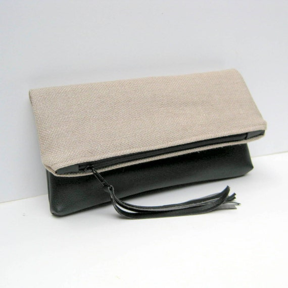 Clutch Fold Over in Natural Linen with Black Vegan Leather