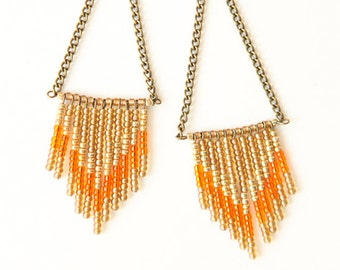 Harvest - Chevron seed bead earrings - harvest and bronze