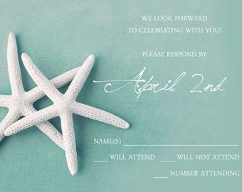 25 postcards per set-  wedding response postcards- white starfish