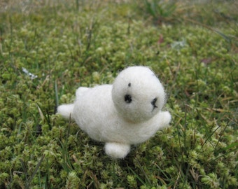 Needle Felted White Baby Seal Animal