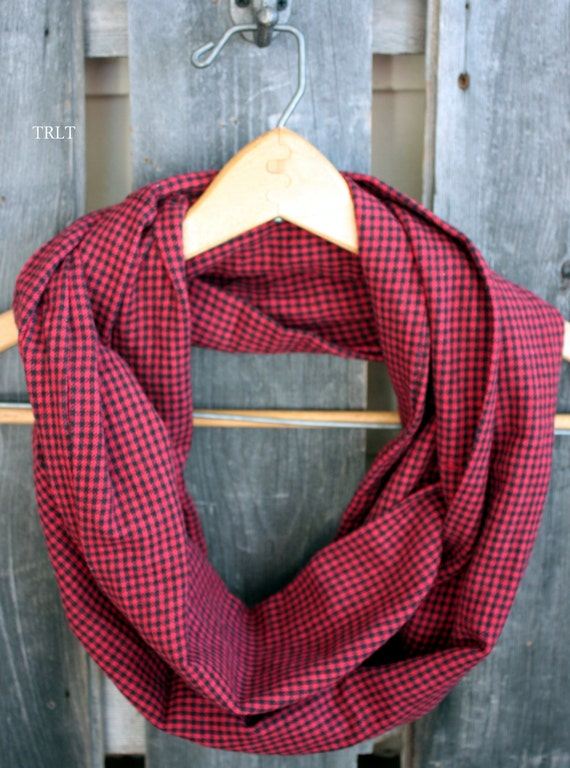 Red and Black Checkered Plaid Flannel Infinity Scarf