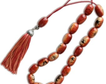 Worry Beads-Greek Komboloi - Apple Coral- Rice Shape