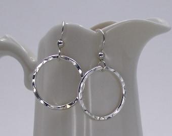 Sterling Silver Circle Hoop Earrings