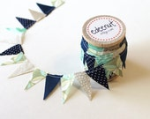 Beachy bunting in Navy, Tan, and Sea glass Mix. fabric Cake Mini Bunting. Wooden Spool of Ribbon for gift wrapping.