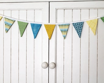 Blue, Green, Yellow Boys scheme, Bunting party decoration. Fabric sewn flag banner. Photo prop. pennants