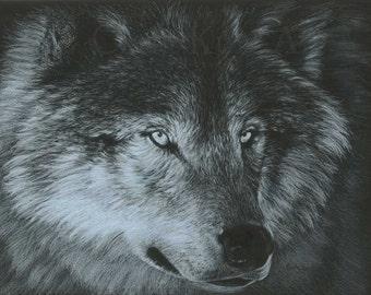 Original Wolf Art DARK WOLF Artwork by Carla Kurt