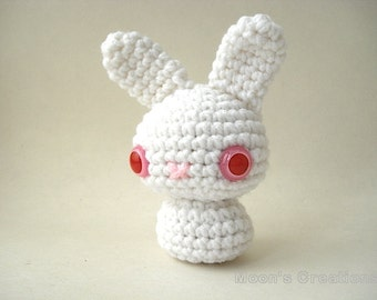 Albino Moon Bun - Amigurumi Bunny Rabbit Doll with Keychain or Ornament Options