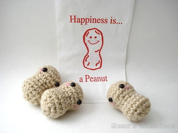 Bag of Peanuts Amigurumi - Three Peanut Dolls in a Paper Bag or Single Peanut with Keychain or Ornament Options