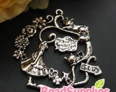 CH-ME-15009 - Antique silver,  Alice in Wonderland Wreath Charm, 2 pcs