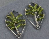 Tree of Life Earrings - Sterling Silver and Green Glass