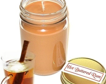 Hot Buttered Rum Scent Mason Jar Candle  12 Oz Handmade