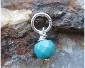 Small Turquoise Charm - Silver Wrapped Gemstone
