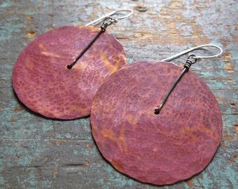 Large Copper Disk Earrings