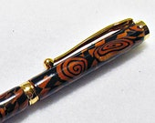 Black and Gold Geometric Refillable Retractable Pen