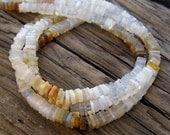 Australian Opal Beads, Thin Square Disks -5mm