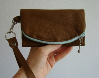 Distressed Cognac Brown Leather iPhone/ iPod/ Android wallet, smart phone clutch with wrist strap