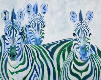 Zebra Art Print  of my painting Safari Africa
