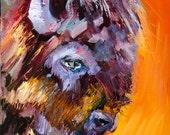 Artoutwest wildlife by Diane Whitehead animal art bison buffalo original