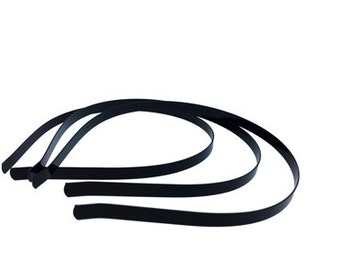 12 pieces - 5mm Metal Headbands in Black
