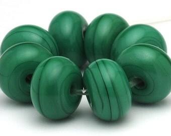 Handmade Lampwork Spacer Beads Emerald Green Opaque SRA