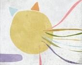 Pastelle 03 - Children Art Print  - Illustration - Nursery wall art - Baby room decor - Cat - Bird - Ribbon  -Abstract - Minimalist - Yellow