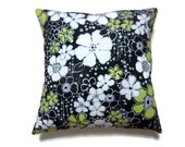 Lynne's Bargain Basement Decorative Pillow Cover Black White Blue Gray Chartreuse Floral Design 18 x 18 inch Toss Throw Accent Cover
