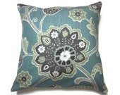Pillow Cover Teal Charcoal Gray Moss Green White Gold Floral Design Same Fabric Front/BackPillow Toss Throw Accent  18x18 inch x