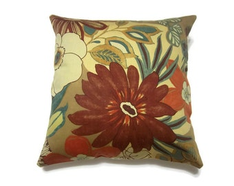 Decorative Pillow Cover Chutney Orange Rust Teal Blue Brown Handmade Multicolored Modern Floral Throw Toss Accent  18x18 inch x