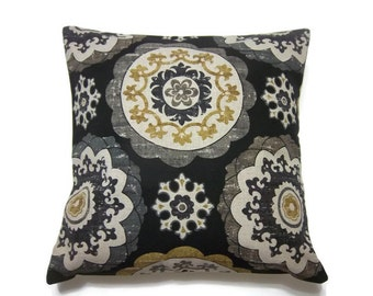 Decorative Pillow Cover Black Gray Gold Oatmeal Suzanni Design Toss Throw Accent Cover 18 x 18 inch