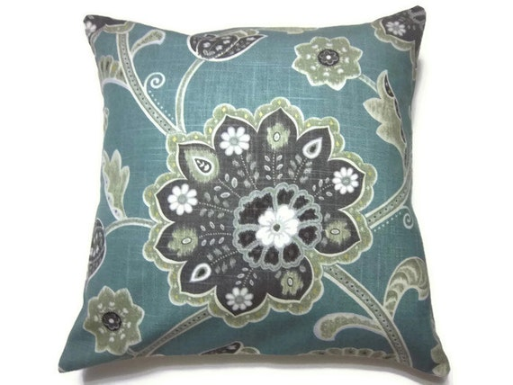 Decorative Pillow Cover Teal Charcoal Gray Moss Green White