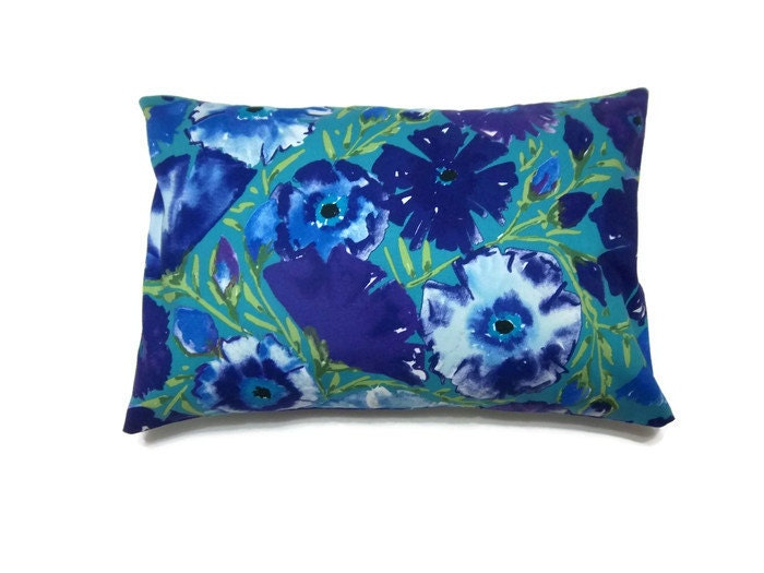 Decorative Pillow Cover Lumbar Purple Blue by LynnesThisandThat