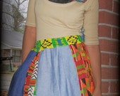 S A L E/ flyTie Clothing Denim Kente Pleated Mini Skirt/ Upcycled/ Plus Size/ FREE SHIPPING/ 10% off with Code LOVE8
