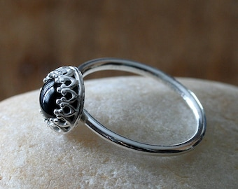 Black Onyx Ring in Sterling Silver Gallery Bezel 8 mm, Crown Princess Setting, Onyx Ring,Size 2 to 15, Womens Ring Jewelry, Gift for Her