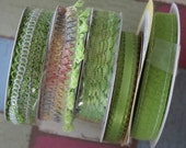 5 Piece Lot of Decorative Spool Ribbon - Great Greens!