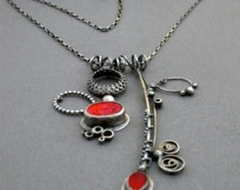 poppy red orange double pendant necklace