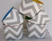 Mini Fabric Storage Organizer Bins Baskets - Gray / White Chevron Fabric  - Set of 5 - Primary Colors Fabric for Lining