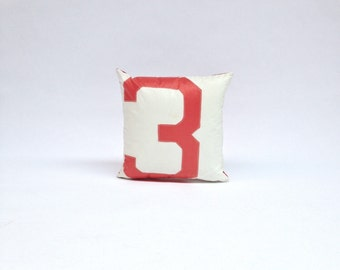 Sail Cloth Pillow - Red and White with Red Number 3