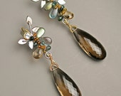 Gem Wrapped Vine Earrings Large Smoky Quartz 18k Gold and Oxidized Silver Statement Earrings