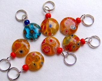 Hand Made Stitch Markers --  Millefiori Glass Coins -- Sunshine and Sky
