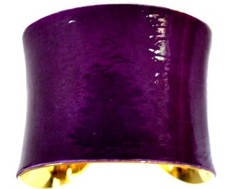 Purple Patent Leather Gold Lined Cuff Bracelet - by UNEARTHED