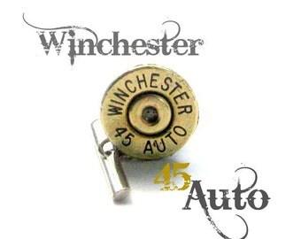 Winchester 45 auto tie tack casing bullet  tie tack wedding groomsmen cowboy